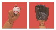 Variant Hands, with Catchers Mitt and Baseball.