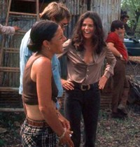 Ali MacGraw on set with crew members