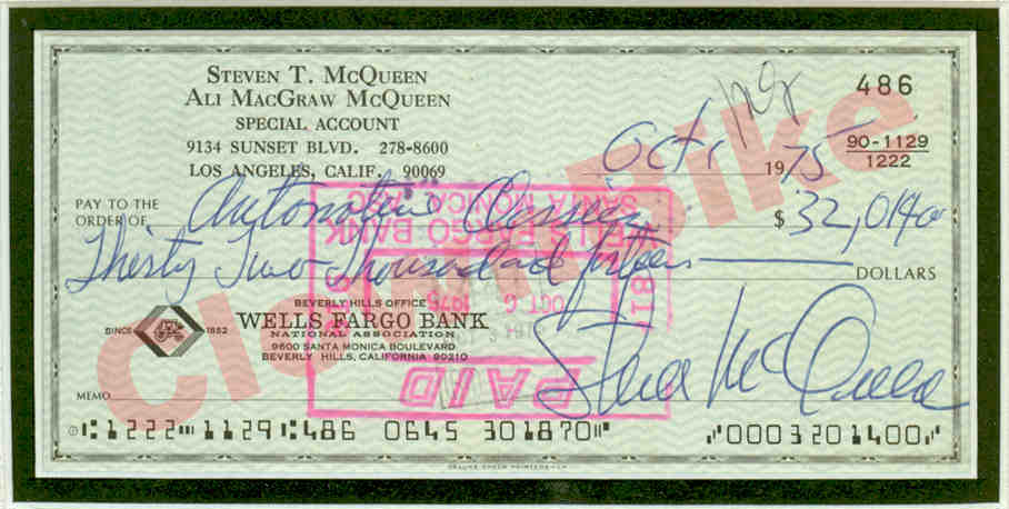 Signed cheque