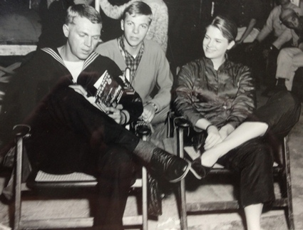 John on set with Steve and Candice Bergen