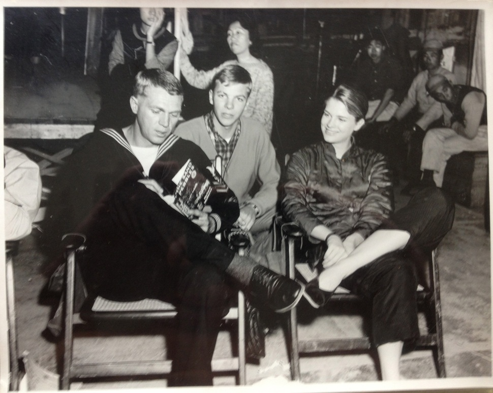 John on the set of The Sand Pebbles with Steve McQueen and Candice Bergen