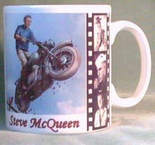 coffee mug featuring pic of virgil hilts jumping bike over fence