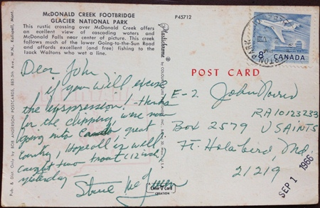 A postcard from Steve to John Norris