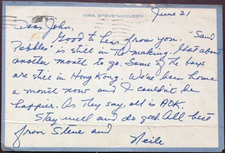 A postcard from Steve and Neile to John Norris